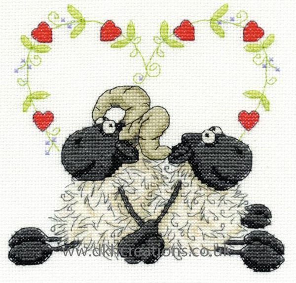 Shabby Sheep Love You Too Cross Stitch Kit